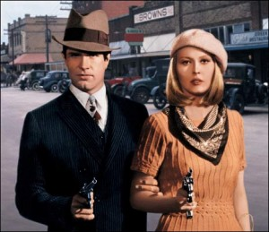 Faye Dunaway and Warren Beatty as Bonnie and Clyde