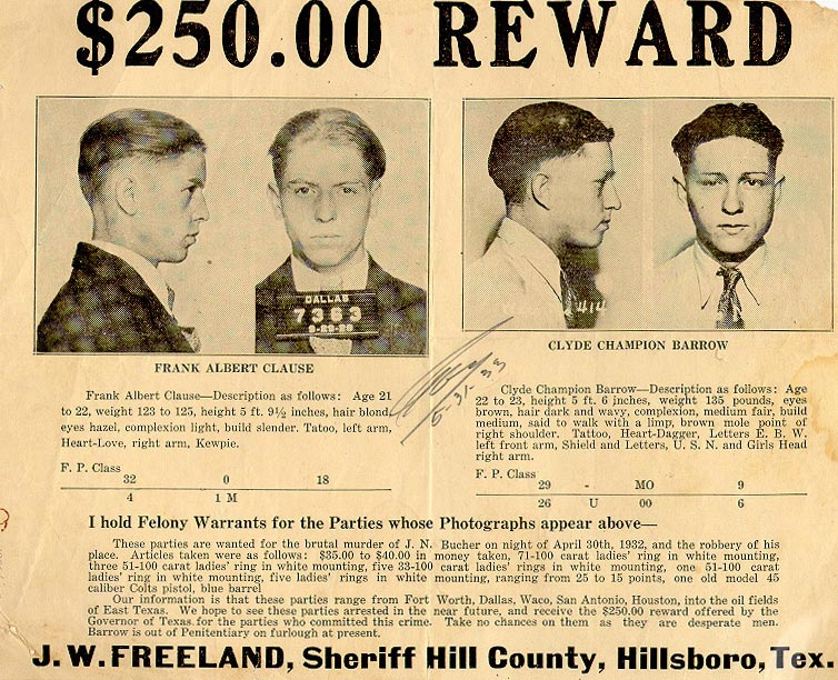 The Real Bonnie and Clyde Wanted Posters