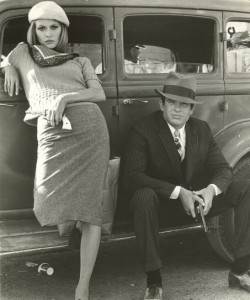 The film Bonnie and Clyde posing on the car